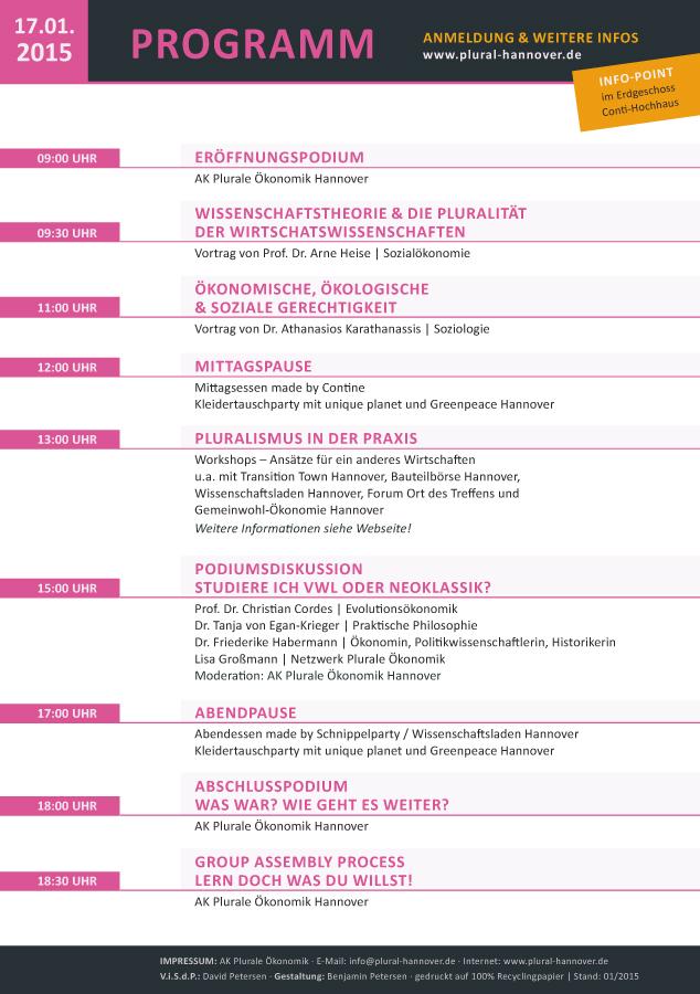 Flyer, Rückseite | Tag der Pluralen Ökonomik | Plurale Ökonomik Hannover