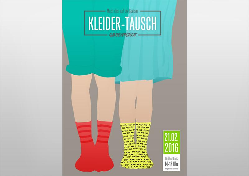 Poster | Kleidertauschparty | Mach dich auf die Socken! | Greenpeace Hannover