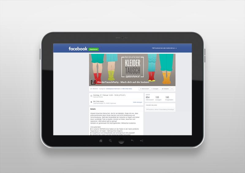 Facebookauftritt | Kleidertauschparty | Mach dich auf die Socken! | Greenpeace Hannover