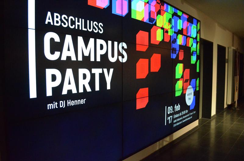 Mediascreengestaltung LICHTCAMPUS 2017 u.a. für die Party
