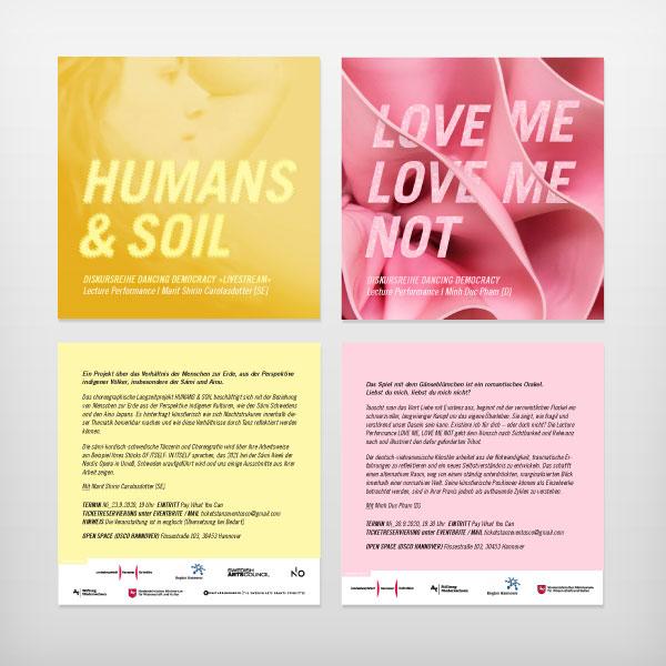 TanzDiskurs: Flyer HUMANS & SOIL, LOVE ME, LOVE ME NOT | Aguililla Productions